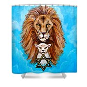 Lion Lies Down With A Lamb Shower Curtain