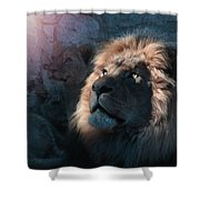 Lion Light Shower Curtain by Bill Stephens