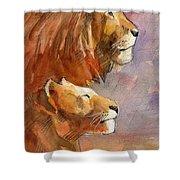 Lion, Lioness Shower Curtain