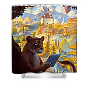 Lion Reading Shower Curtain