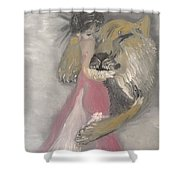 Lady And The Lion Shower Curtain
