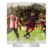 Lionel Messi Challenges The Athletic Bilbao Defense Shower Curtain