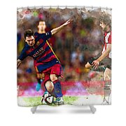 Lionel Messi  Fights For The Ball Shower Curtain