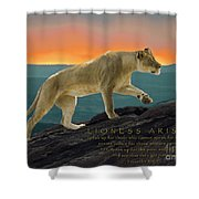 Lioness Arising Shower Curtain