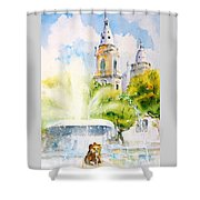 Lions Fountain Plaza Las Delicias  Ponce Cathedral Puerto Rico Shower Curtain