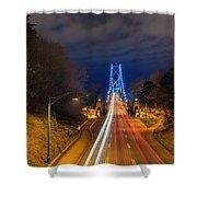 Lions Gate Bridge Light Trails Shower Curtain