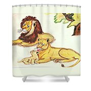 Lions Of The Tree Shower Curtain