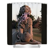 Lions Statue With Ribbon Shower Curtain