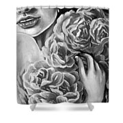 Lips Of Love Black And White Shower Curtain