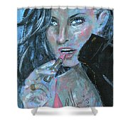 Lipstick And Leather Shower Curtain
