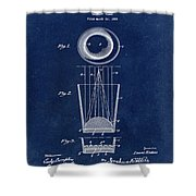 Liquershot Glass Patent 1925 Blue Shower Curtain
