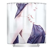 Liquid Blue - Self Portrait Shower Curtain