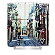 Lisboa Tram Route Shower Curtain