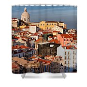 Lisbon Cityscape In Portugal At Sunset Shower Curtain