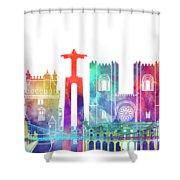 Lisbon Landmarks Watercolor Poster Shower Curtain