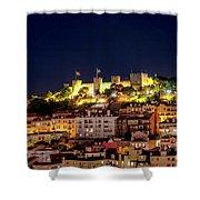 Lisbon Night Background Shower Curtain