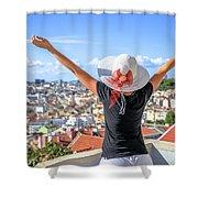 Lisbon Panorama Enjoying Shower Curtain