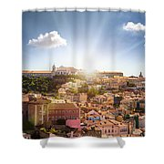 Lisbon Panoramic View To Afama Shower Curtain