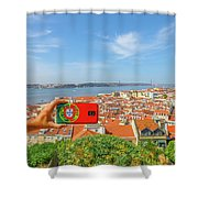 Lisbon Pictures Aerial Shower Curtain