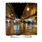 Lisbon Portugal Night Magic - Nighttime Shopping In Baixa Pombalina Shower Curtain