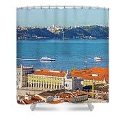 Lisbon Tagus River Skyline Shower Curtain