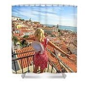 Lisbon Tourist Viewpoint Shower Curtain