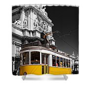 Lisbon's Typical Yellow Tram In Commerce Square Shower Curtain