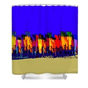Lisse - Tulips Blue On Brown Shower Curtain
