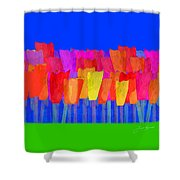 Lisse - Tulips Blue On Green Shower Curtain