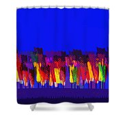 Lisse - Tulips Colors On Blue Shower Curtain