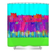 Lisse - Tulips Lighter Blue On Gree Shower Curtain