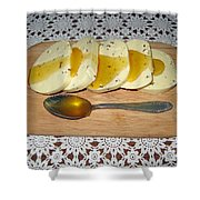 Lithuanian National Food. Cottage Cheese With Honey. Shower Curtain