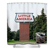 Little America Hotel Signage Vertical Shower Curtain