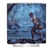 Little Asian Kid Fishing In The River Countryside Thailand. Shower Curtain