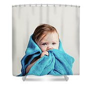 Little Baby Girl Tucked In A Cozy Blue Blanket. Shower Curtain