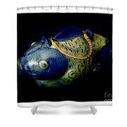 Little Blue And White Fish Tea Pot Still Life Shower Curtain
