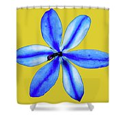 Little Blue Flower On A Yellow Background Shower Curtain