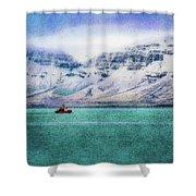 Little Boat In Reykjavik Bay Shower Curtain