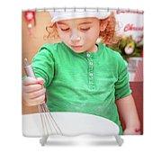 Little Boy Making Christmas Cookies Shower Curtain