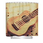 Little Carved Guitar On Sheet Music Shower Curtain