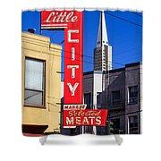 Little City Sign North Beach Shower Curtain