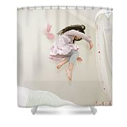Little Girl Dancing And Jumping On Her Bed Shower Curtain