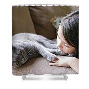Little Girl Hanging Out With Her Scottish Fold Cat Shower Curtain