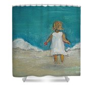 Little Girl Playing On Beach Shower Curtain