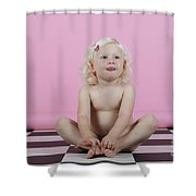 Little Girl Sits On A Checkered Floor Shower Curtain