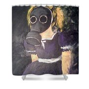 Little Girl Wear Gas Mask Shower Curtain