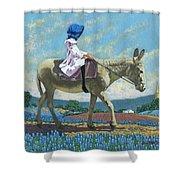 Little Girl With A Blue Bonnet Shower Curtain