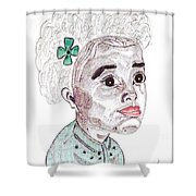 Little Girl With A Green Bow Shower Curtain