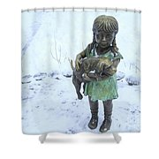 Little Girl With A Puppy In Her Arms. Shower Curtain