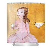 Little Girl With Her Hen Shower Curtain